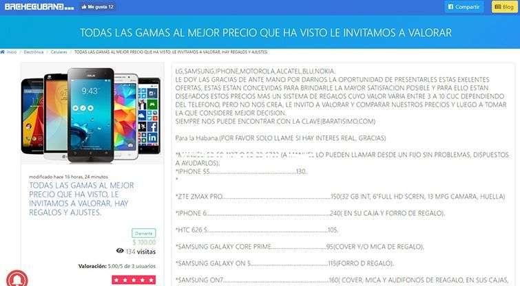 Captura de pantalla de un anuncio en bachecubano. Los números telefónicos fueron borrados a propósito para este trabajo.