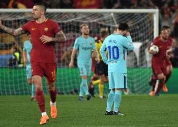 La Roma goleó al Barcelona y dejó al equipo de Messi fuera de las semifinales de la Champions. Foto: Clarín / AFP.