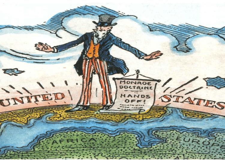 Ilustración de la época en que fue definida la Doctrina Monroe.