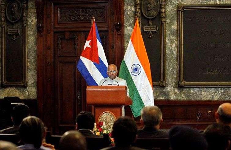 El presidente de la India, Ram Nath Kovind, imparte una conferencia este viernes 22 de junio de 2018, en la Universidad de La Habana, en el cierre de su visita a Cuba. Foto: Yander Zamora / EFE.