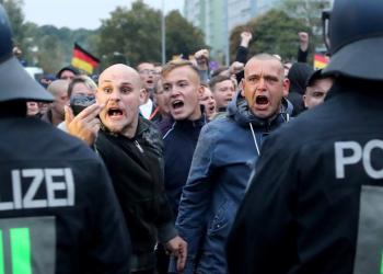 Manifestantes de ultraderecha en Chemnitz, Alemania. Foto: Martin Divisek / EPA / EFE.
