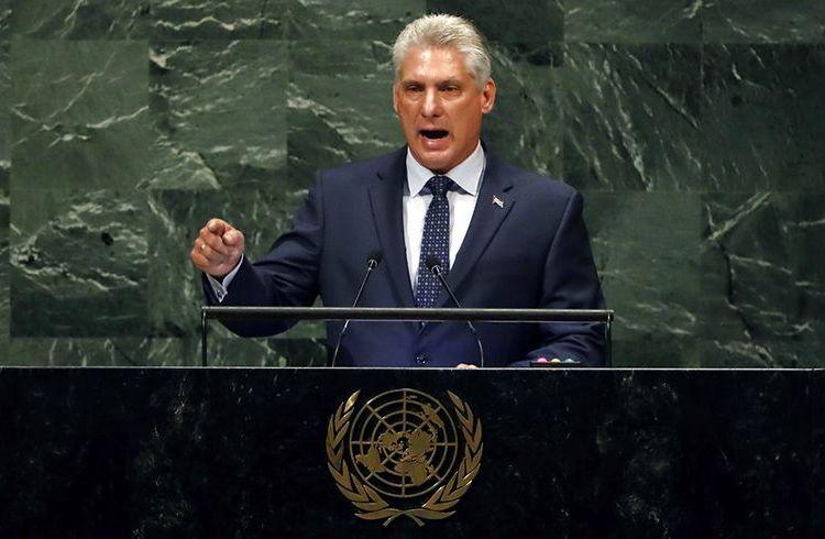 El presidente de Cuba, Miguel Díaz-Canel, se dirige a la 73ª sesión de la Asamblea General de las Naciones Unidas en la sede de la ONU, el miércoles 26 de septiembre de 2018. Foto: Richard Drew / AP.