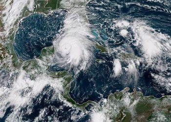 El huracán Michael en su paso por el oeste de Cuba. Imagen del satélite meteorológico.
