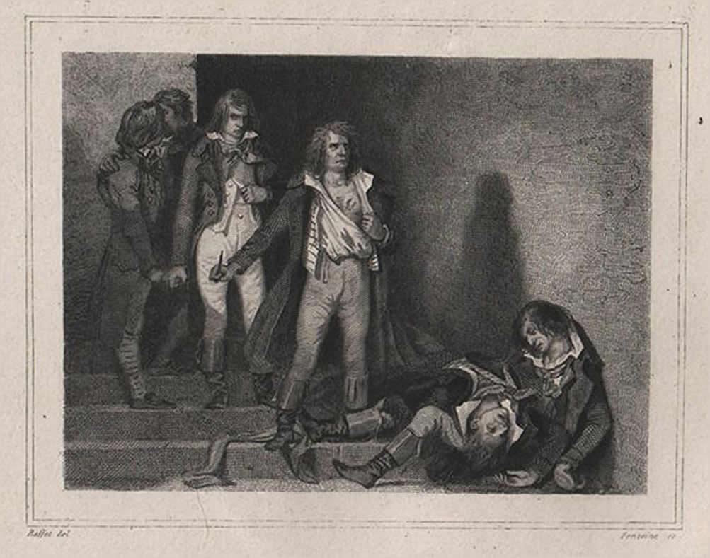 """La muerte de Goujon, """"joven héroe y mártir de la democracia""""."""