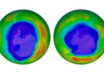 En esta combinación de imágenes proporcionada por la NASA se muestran zonas de bajo potencial de agotamiento de la capa de ozono sobre la Antártida en septiembre de 2000 (izquierda) y en septiembre de 2018. Foto: NASA vía AP.