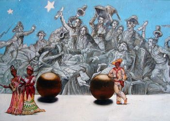 """Las bolas de Lumperto"". Óleo sobre lienzo, 2008. Autor: Douglas Pérez."