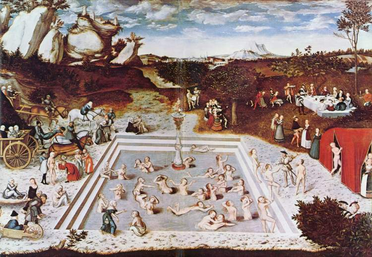 """Detalle de """"La Fuente de la Juventud"""", de Lucas Cranach, El Viejo."""