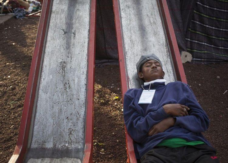 Refugiados centroamericanos en el albergue instalado en la Ciudad de México. Foto: Alejandro Saldívar.