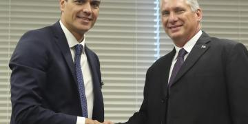 Pedro Sánchez y Miguel Díaz-Canel en la ONU. Foto: EFE.