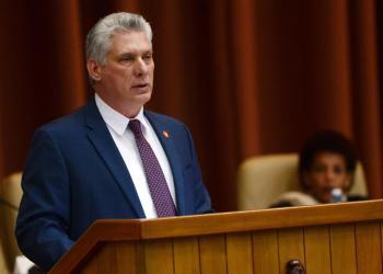 Presidente Miguel Diaz-Canel durante la sesión plenaria hoy en el Parlamento. Foto: Omara García / EPA / EFE.
