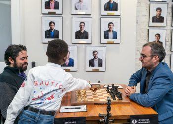 Hikaru Nakamura y Leinier Domínguez entablaron en la penúltima ronda del Nacional de Estados Unidos. Foto: US Chess