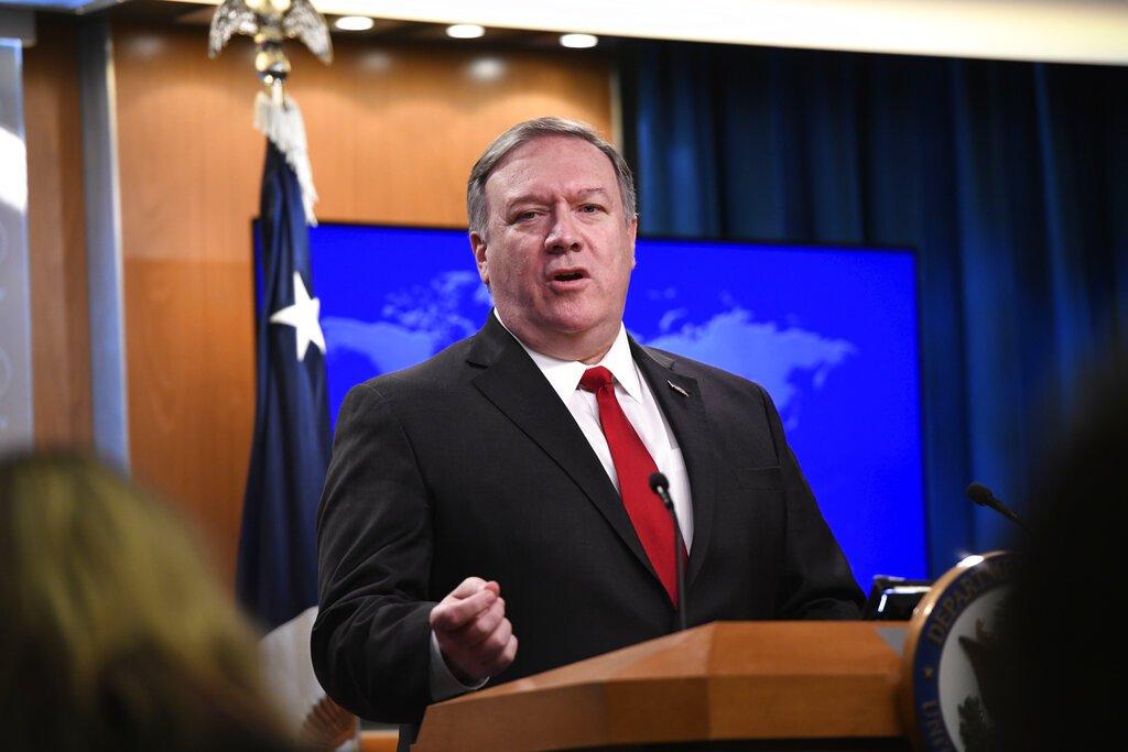 El secretario de Estado, Mike Pompeo, en conferencia de prensa en el Departamento de Estado en Washington el 26 de marzo del 2019. Foto: Sait Serkan Gurbuz / AP.