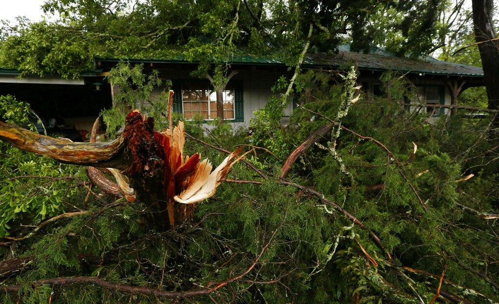 Ramas de árboles quedaron esparcidas cerca de una vivienda tras el paso de una tormenta en Learned, Mississippi, el jueves 18 de abril de 2019. Foto: Rogelio V. Solis / AP.