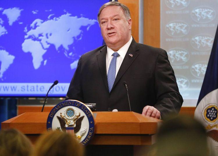 El secretario de Estado Mike Pompeo durante una conferencia de prensa en el Departamento de Estado en Washington, el miércoles 17 de abril de 2019. Foto: Pablo Martinez Monsiváis / AP.