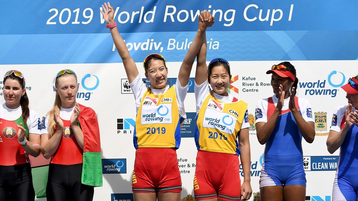 Las chinas Shiyu Lu y Yuwei Wang ganaron el oro en una prueba donde las cubanas Yariulvis Cobas y Aimeé Hernández (extremo derecho) sorprendieron con un bronce. Foto: Sitio Oficial del evento