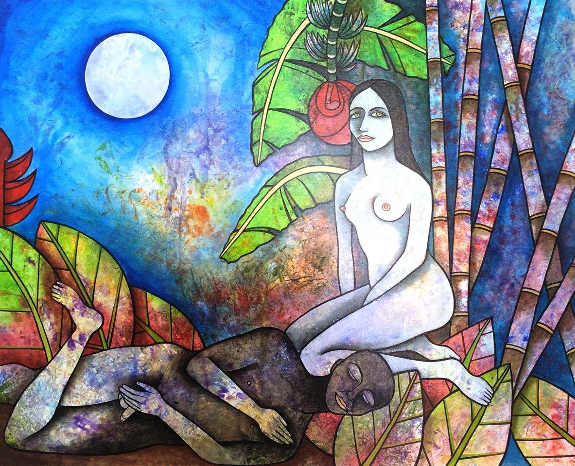 Mujer y luna. Obra: Alicia Leal.