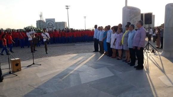 El presidente Miguel Díaz-Canel en el acto de abanderamiento de la delegación cubana que asistirá a los XVIII Juegos Panamericanos.. Foto: Twitter/@PresidenciaCuba.