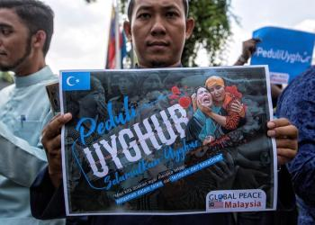 Protesta en Malasia en favor de la minoría uyghup de la región de Xinjiang. Foto: EFE.