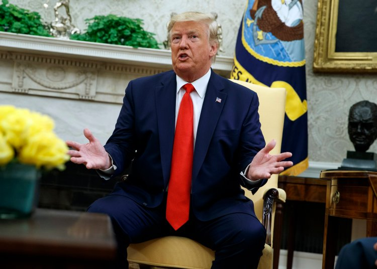 El presidente Donald Trump explica en la Oficina Oval de la Casa Blanca, el miércoles 11 de septiembre de 2019, en Washington, sus divergencias con el ex asesor John Bolton sobre Venezuela. Foto: Evan Vucci/AP