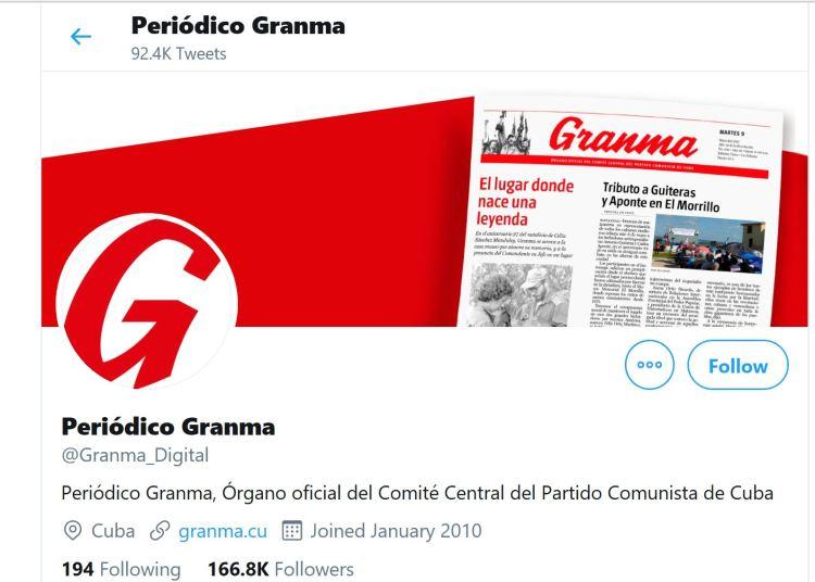 Captura de pantalla del perfil del diario Granma en Twitter.