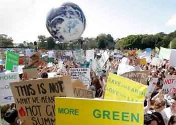 Protesta contra el cambio climático, en Sydney, Australia, el 20 de septiembre de 2019. (AP Foto/Rick Rycroft)