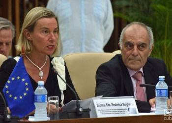 La jefa de la diplomacia europea, Federica Mogherini, junto al embajador de la UE en Cuba, Alberto Navarro, durante el Segundo Consejo Conjunto Cuba-UE, celebrado en La Habana el 9 de septiembre de 2019. Foto: Otmaro Rodríguez.