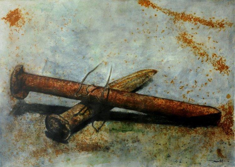 Dos viejos contructores , 2010, mixta sobre lienzo, 97,5x136 cm. Foto: Cortesía del artista.