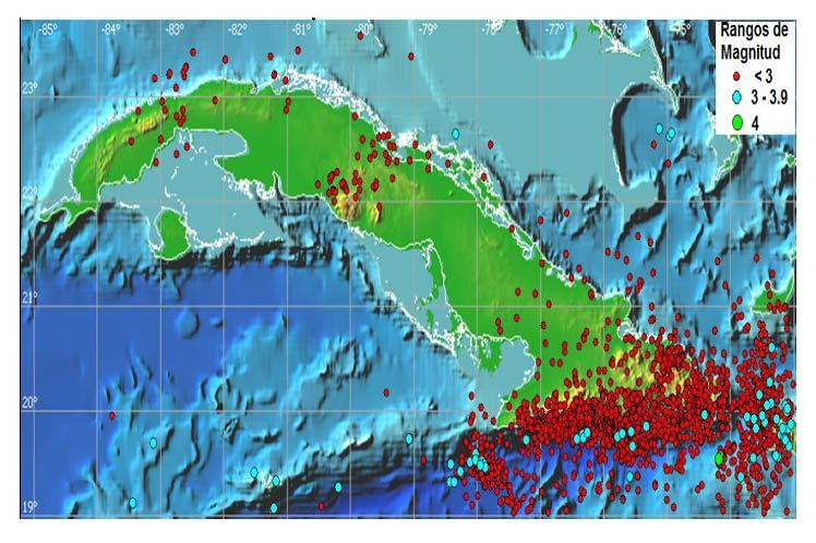 Mapa de la actividad sísmica durante 2019. Infografía: Prensa Latina.