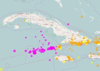 Mapa de los movimientos sísmicos registrados en los últimos días en los alrededores de Cuba. En rosado, los de las últimas 24 horas, entre el 28 y el 29 de enero de 2020. Infografía: Centro Nacional de Investigaciones Sismológicas de Cuba (CENAIS).