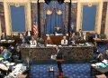 El representante demócrata Adam Schiff, quien encabeza el proceso de juicio político contra el presidente Donald Trump, habla durante los procedimientos en el Capitolio el jueves 23 de enero de 2020. (Televisión del Senado vía AP)