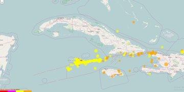 Mapa de la actividad sísmica del lunes 3 de febrero de 2020. Infografía: cenais.cu/lastquake/