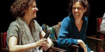 Las realizadoras Heidi Hassan y Patricia Pérez durante el Festival Internacional de Cine DocumentaMadrid. Foto: documentamadrid.com