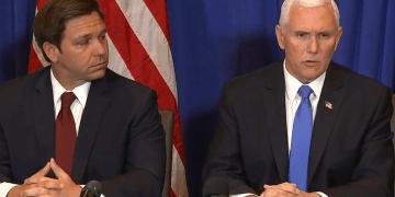 El gobernador Ron DeSantis y el vicepresidente Mike Pence, sostuvieron el viernes para discutir el plan del estado para hacer frente a un posible brote de coronavirus. Foto: wsvn.com