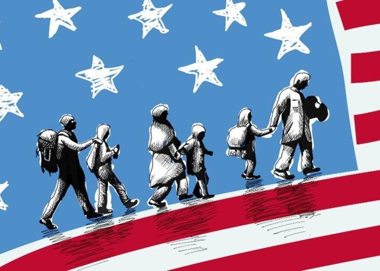 Ilustración sobre el arribo de inmigrantes a Estados Unidos. | Forbes.com