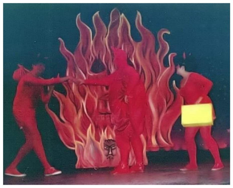 ¡Así es que después nos vemos, no nos vamos a tardar! Mario Guerra, Pía Echevarría y Martha Hernández Drewien, son los diablos de Pastorela Mexicana de Miguel Sabido. Tepic, Nayarit 1989
