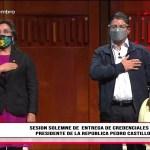 JNE .-Castillo y Boluarte recibieron las credenciales de presidente y vicepresidenta 2021-2026