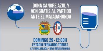 Sangre azul para el partido entre el CF Fuenlabrada y Rayo Majadahonda