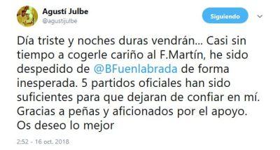 Agustí Julbe es destituido como técnico del Montakit Fuenlabrada