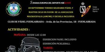 El próximo sábado 28 de septiembre llega un nuevo Torneo Solidario del Club de Pádel Fuenlabrada. Será a beneficio de la Asociación Macrocefalia (AMCME).