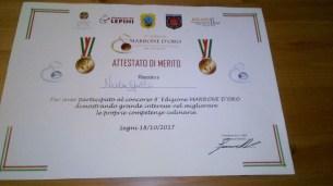 attestato premiazione per Nicola Gallo