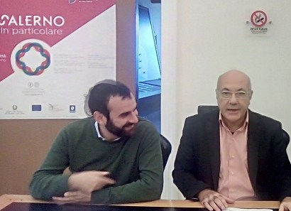 il sindaco Daniele Milano con il funzionario Michele Faiella della Soprintendenza nel 2018 durante un conferenza stampa a Salerno
