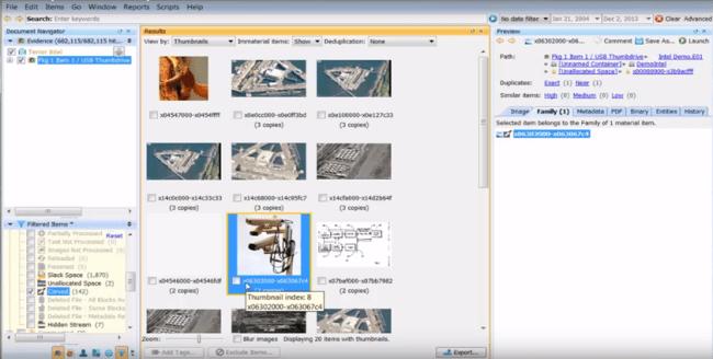 Recolección de datos con Nuix [captura de pantalla]