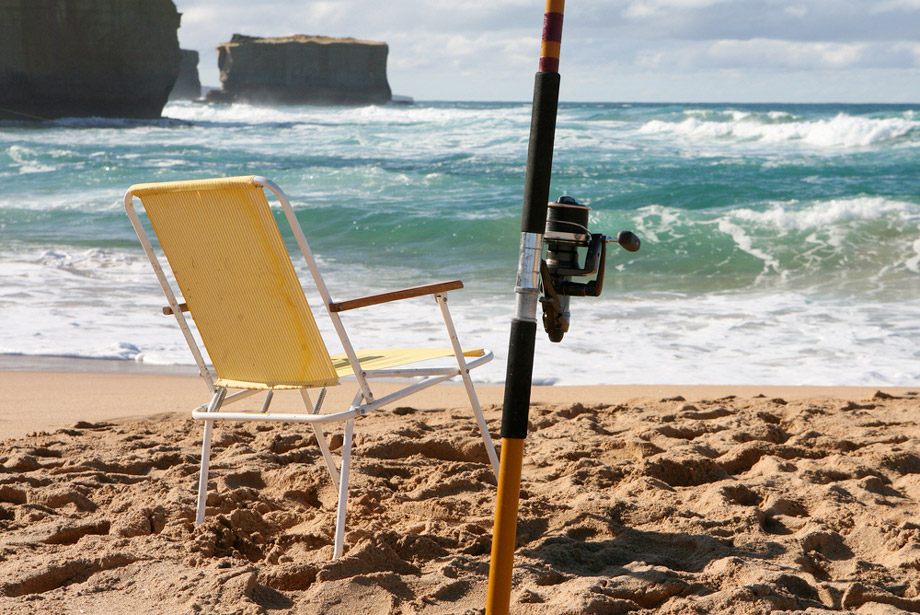 Surf Fishing Rod And Chair At The Beach