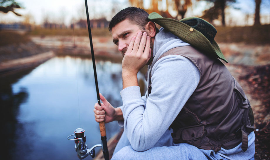 Guy Unhappy Because He Can't Catch Any Fish