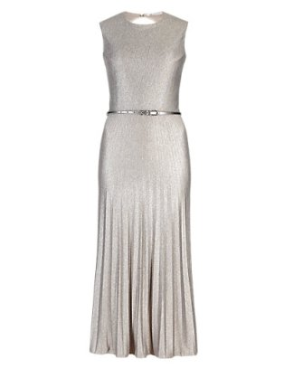 M&S COLLECTIONMetallic Effect Pleated Skater Dress
