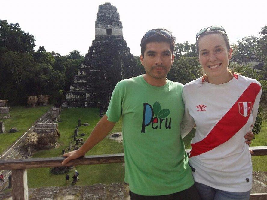 Haley and Omar exploring the ruins of Tikal, Guatemala