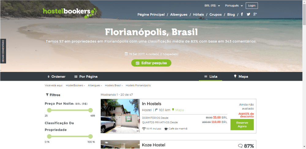 Tela do Hostel Bookers exibindo os hosteis de Florianópolis