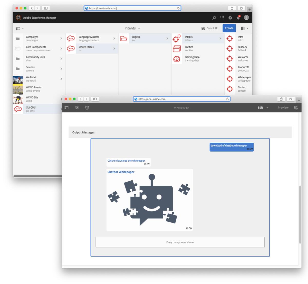 AEM Chatbot module -create content