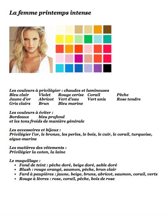 Colorimétrie femme printemps