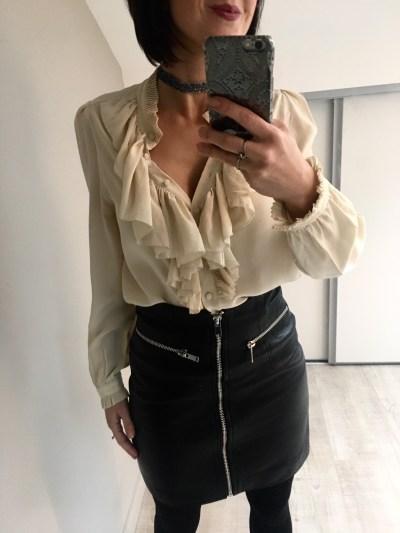 Mini-jupe cuir taille haute